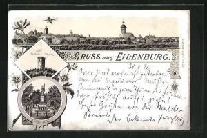 Lithographie Eilenburg, Sorben-Thurm, Krieger-Denkmal, Teilansicht der Stadt