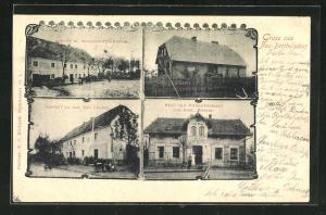 AK Neu-Berthelsdorf, Gasthof zu den drei Linden, Bäckerei von Gust. Weiner
