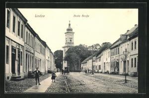 AK Lindow, Breite Strasse mit Blick zur Kirche