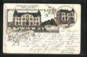 Lithographie Radeberg, Restaurant zum Lindenhof von G. Berger