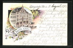 Lithographie Ludwigshafen a. Rh., Gasthaus zum Bayerischen Hies`l