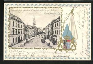 Passepartout-Lithographie Selb i. B., Marktplatz und Untere Ludwigstrasse, Wappen und Fahne