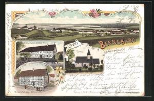 Lithographie Bernsburg, Gasthaus von Johs. Schneider, Gasthof von Georg Fink