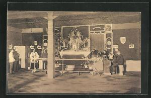 AK Münster / Westf., Kriegsgefangene vor dem Altar