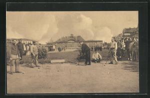 AK Münster / Westf., Kriegsgefangene beim Boulespiel