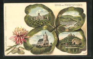 Präge-Passepartout-Lithographie Niederlahnstein, Burg Lahneck, Allerheiligenberg Kapelle Schloss Stolzenfels