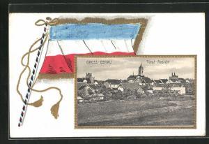 Präge-Passepartout-Lithographie Gross-Gerau, Totalansicht und Flagge