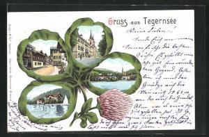 Passepartout-AK Tegernsee, Teilansicht, Kirche, Ortspartie im Kleeblatt