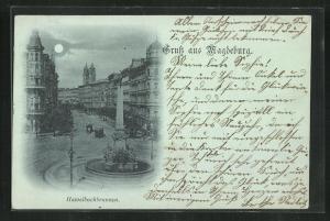 Mondschein-AK Magdeburg, Hasselbachbrunnen und Strassenbahnen
