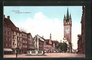 AK Straubing, Ludwigsplatz mit Stadtturm