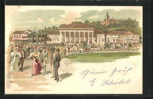 Lithographie Baden-Baden, Kurgäste am Conversationshaus