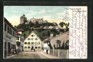 AK Pappenheim, Blick aus einer Strasse zur Schlossruine