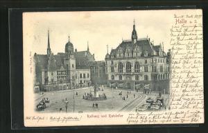 Relief-AK Halle a. S., Rathaus und Ratskeller