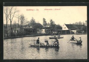AK Radeberg, Gasthof Hüttermühle im Hüttertal, Gondelteich