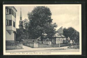 AK Radeberg, Blick auf evang. Kirche und Gemeindehaus