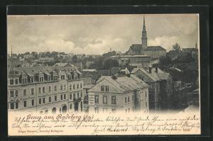 AK Radeberg, Blick über die Dächer der Stadt zur Kirche