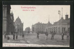 AK Ludwigshafen, Blick auf Bahnhof und Post