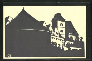 Künstler-AK Halle a.d.S., Die Moritzburg, Scherenschnitt