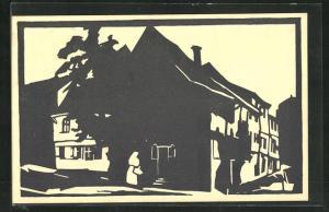 Künstler-AK Halle a.d.S., Am Schlossberg, Scherenschnitt