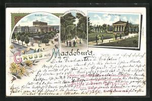 Lithographie Magdeburg, Stadt-Theater und Herrenkrug mit Haupteingang