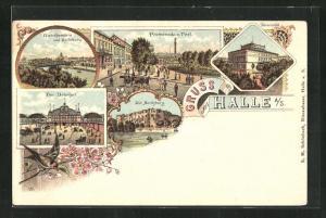 Lithographie Halle a. S., Promenade und Post, Giebichenstein, Bahnhof und Universität