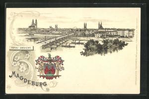 Lithographie Magdeburg, Totalansicht und Wappen