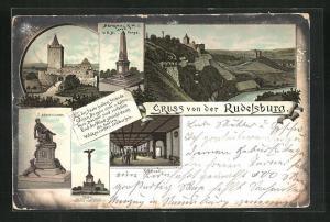 Lithographie Bad Kösen, Rudelsburg mit Rittersaal, Bismarckdenkmal und Denkmal der gefallenen Corpsstudenten