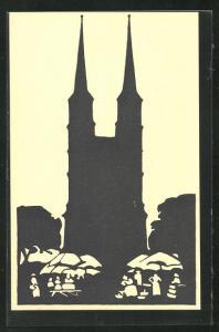 AK Halle a. d. S., Scherenschnitt von Hallmarkt und Marktkirche