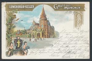 Lithographie München, Gasthaus Löwenbräu-Keller, Münchener Kindl