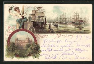 Lithographie Hamburg, Segelschiffe im Hafen, Seewarte
