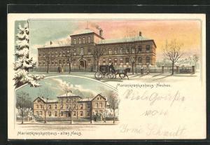 Winter-Lithographie Hamburg-Hohenfelde, Marienkrankenhaus Neubau und altes Haus