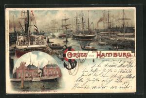Lithographie Hamburg, Schiffe im Hafen, Passagierhallen der Amerika-Linie