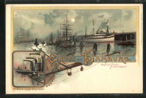 Lithographie Hamburg, Segelschiffhafen Amerikaquai, Krähne am Sandthorquai