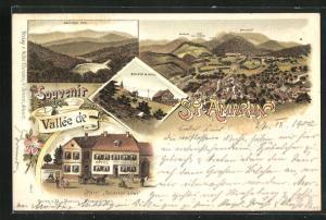 Lithographie St. Amarin, Hotel Goldener Löwe, Belchen mit Hotel, Ortsansicht