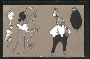 AK Mann mit Geldbeutel betrachtet die Dame vor dem Spiegel, Jugendstil