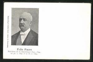 AK Felix Faure, Französischer Präsident im Portrait mit Geburts- und Sterbedatum
