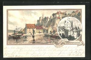 Künstler-AK Karl Mutter: Meersburg, Uferpartie und Burg