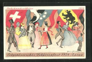 AK Aarau, Eidgenössisches Schützenfest 1924, Menschen feiern und tanzen, Nationalflaggen