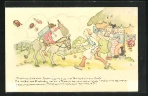 Künstler-AK Liesel Lauterborn: Tischlein deck dich, Junge kommt auf einem Esel angeritten, Märchen