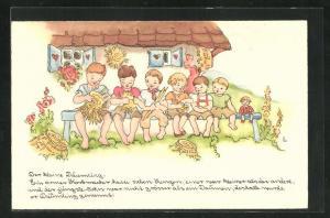Künstler-AK Liesel Lauterborn: Däumling, Kinder sitzen auf einer Bank vor dem Haus, Märchen