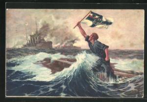 Künstler-AK Hans Bohrdt: Matrose mit Reichskriegsflagge ruft auf dem sinkenden Kriegsschiff um Hilfe