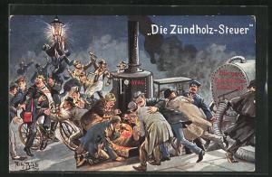 Künstler-AK Arthur Thiele: Zündholz-Steuer, Grosses Menschengetümmel auf der Strasse