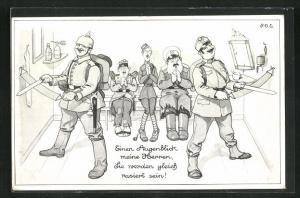 Künstler-AK P. O. Engelhard (P.O.E.): Soldaten in Uniformen mit Messern, Einen Augenblick, meine Herren....