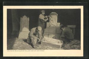 AK Deutsche Bildhauer hinter der Front
