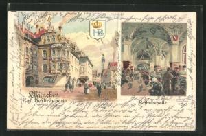 Lithographie München, Königliches Hofbräuhaus, Hofbräuhalle, Innenansicht