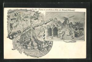 Lithographie Wien, Gruss von der Electrischen Grottenbahn im Prater, Eisbär-Grotte, Gnomen-Grotte