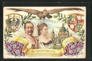 Präge-AK Zur Erinnerung an die Silberhochzeit von Kaiser Wilhelm II. und Gemahlin 1906, Wappen u. Blumen