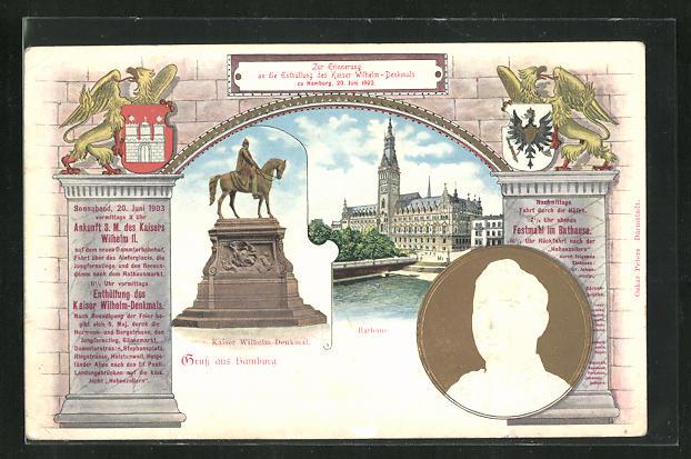 Präge-Lithographie Hamburg, Enthüllung Kaiser Wilhelmdenkmal 1903, Rathaus, Porträt Wilhelm II., Ganzsache, PP27  C29/02 0