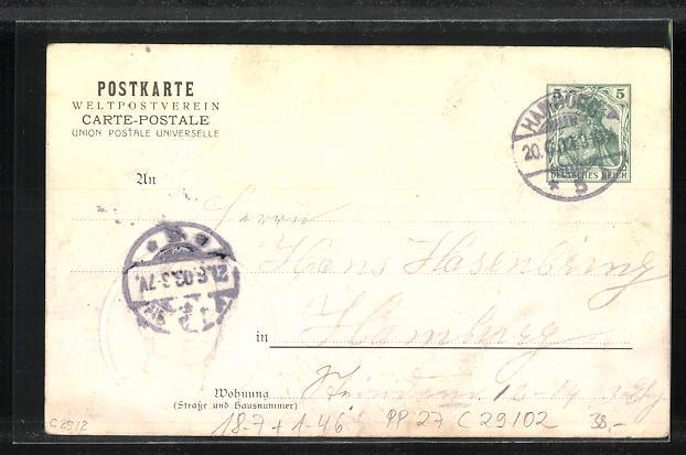 Präge-Lithographie Hamburg, Enthüllung Kaiser Wilhelmdenkmal 1903, Rathaus, Porträt Wilhelm II., Ganzsache, PP27  C29/02 1