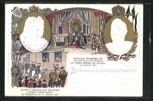 Präge-AK Friedrich I. Erster König von Preussen, Krönung Friedrichs III zum ersten König von Preussen, Ganzsache, PP15 D1